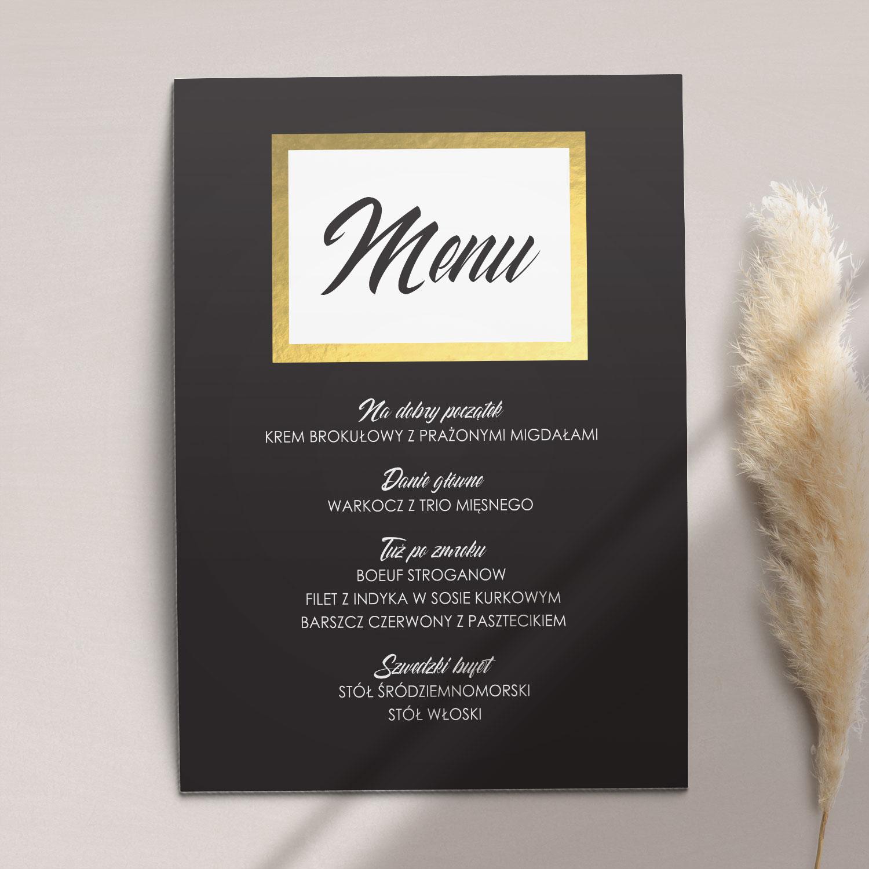 Menu ślubne z kolekcji Czarne złoto firmy Cartolina - zaproszenia ślubne