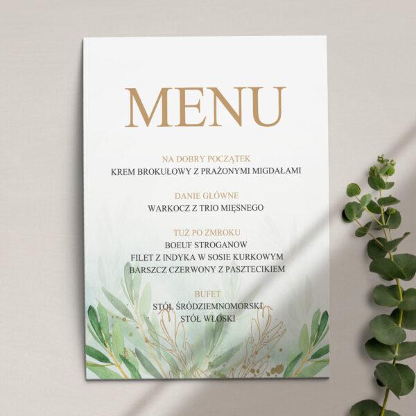Pierwsza strona Menu ślubne z kolekcji Rustykalne oliwki firmy Cartolina - zaproszenia ślubne