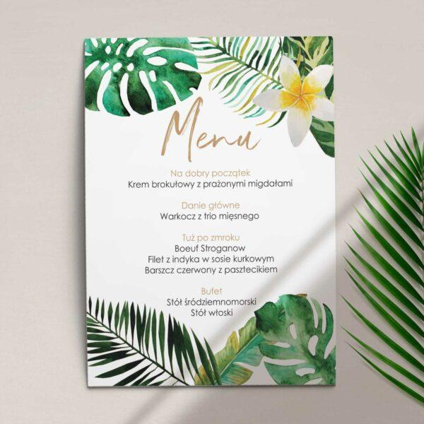 Pierwsza strona Menu ślubne z kolekcji W tropikach firmy Cartolina - zaproszenia ślubne