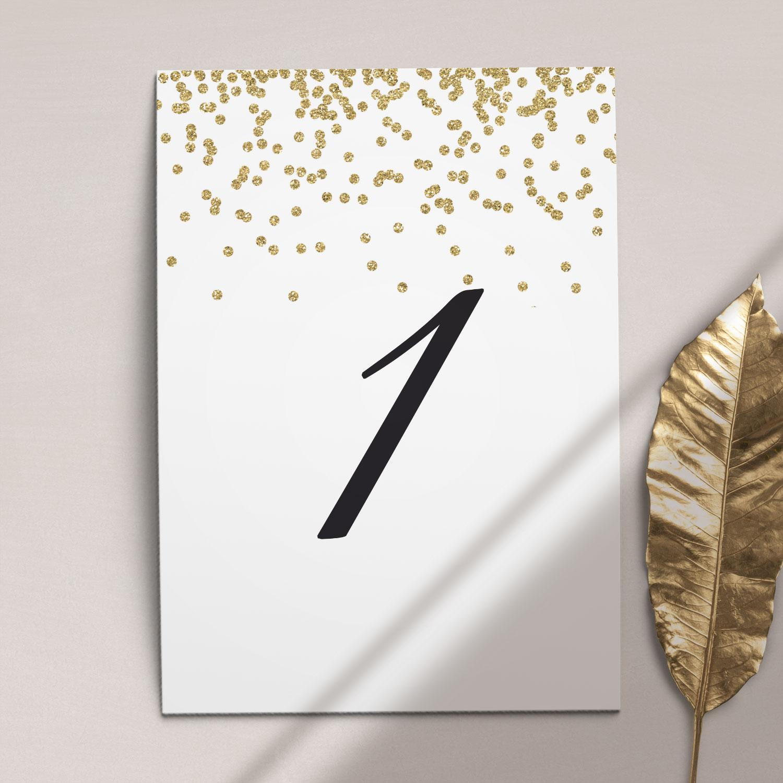 Numer na stół ślubny z kolekcji Confetti firmy Cartolina - zaproszenia ślubne