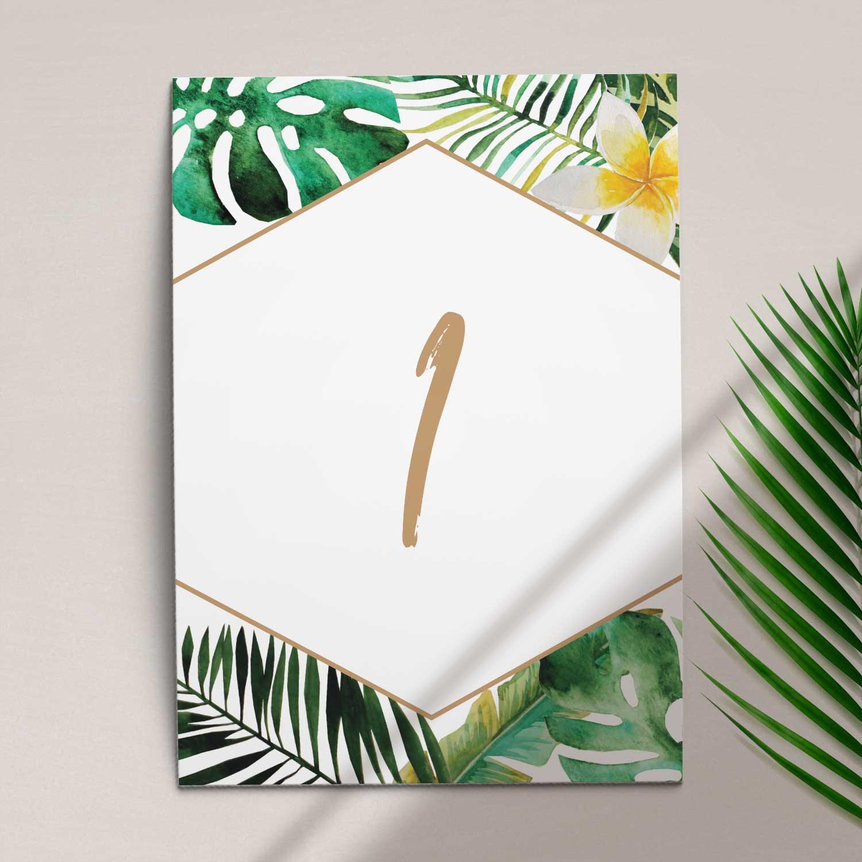 Numer na stół ślubny z kolekcji W tropikach firmy Cartolina - zaproszenia ślubne