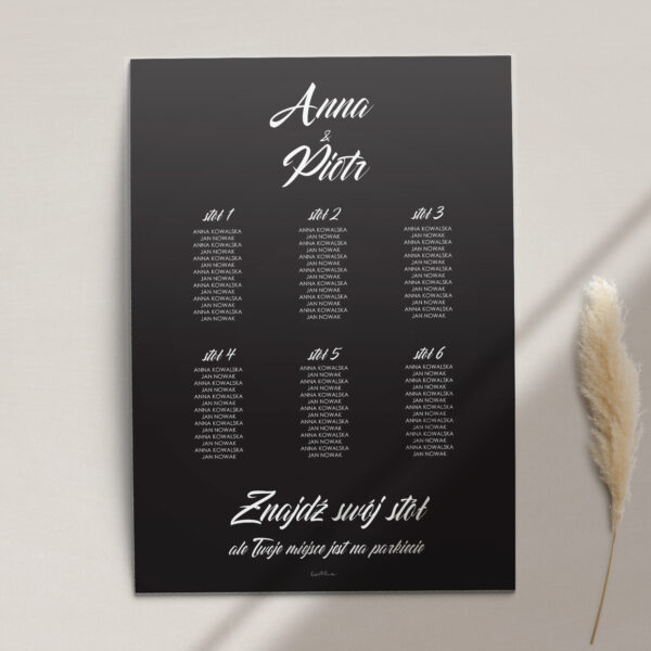 Plan stołów z kolekcji Czarne złoto firmy Cartolina - zaproszenia ślubne