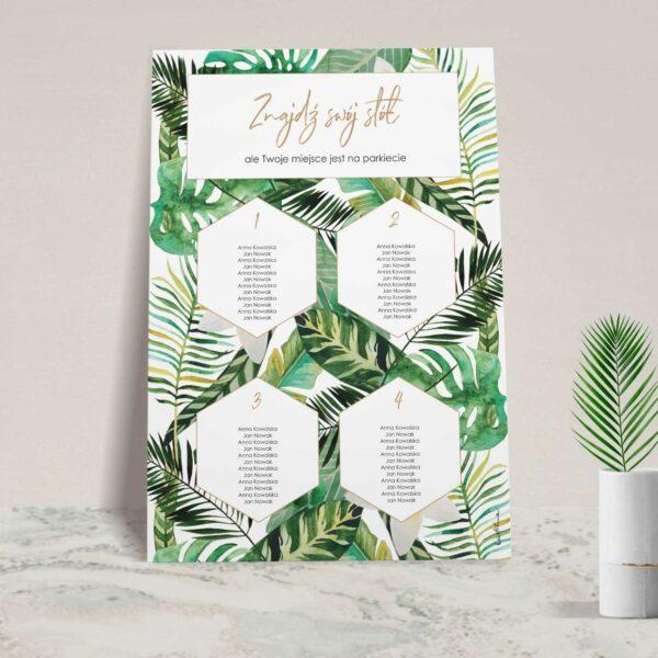 Plan stołów z kolekcji W tropikach firmy Cartolina - zaproszenia ślubne