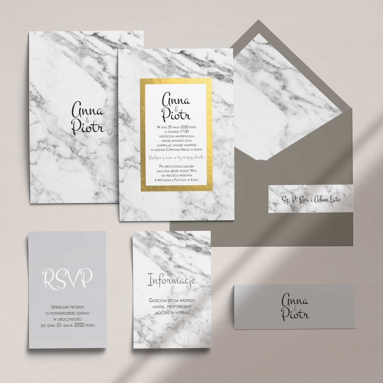 Zaproszenia ślubne wraz z kopertą, RCVP oraz opaską z kolekcji Marmur i złoto firmy Cartolina - zaproszenia ślubne