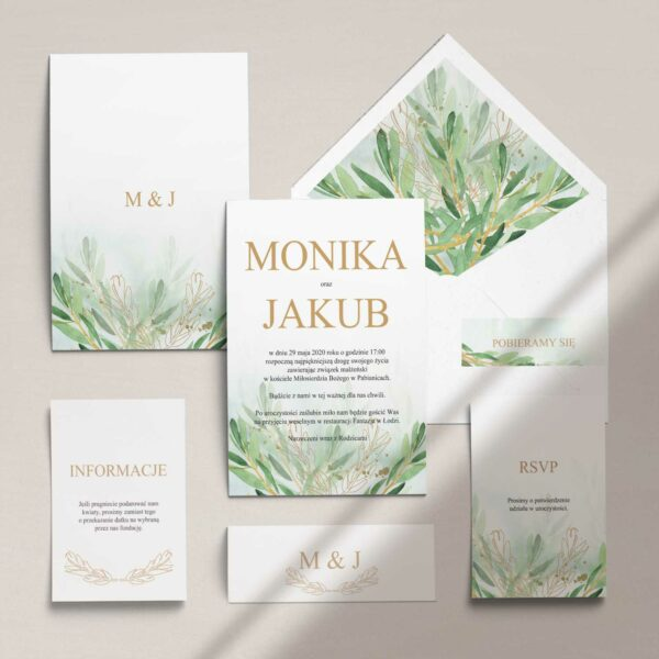 Zaproszenia ślubne wraz z kopertą, RCVP oraz opaską z kolekcji Rustykalne oliwki firmy Cartolina - zaproszenia ślubne