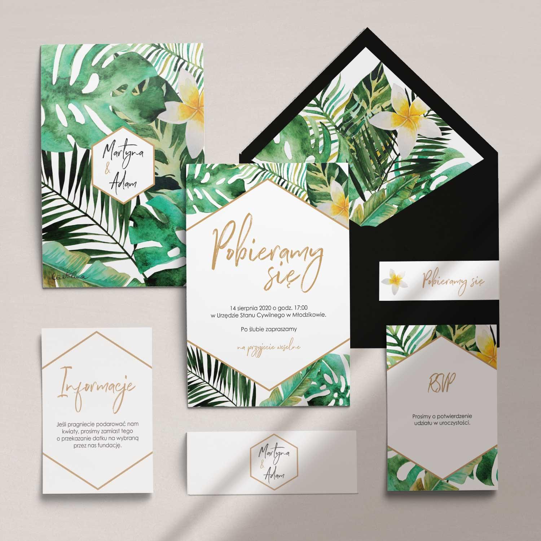 Zaproszenia ślubne wraz z kopertą, RCVP oraz opaską z kolekcji W tropikach firmy Cartolina - zaproszenia ślubne