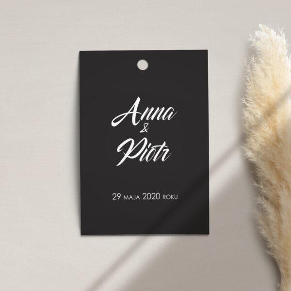 Zawieszka, etykieta na butelkę lub prezent z kolekcji Czarne złoto firmy Cartolina - zaproszenia ślubne