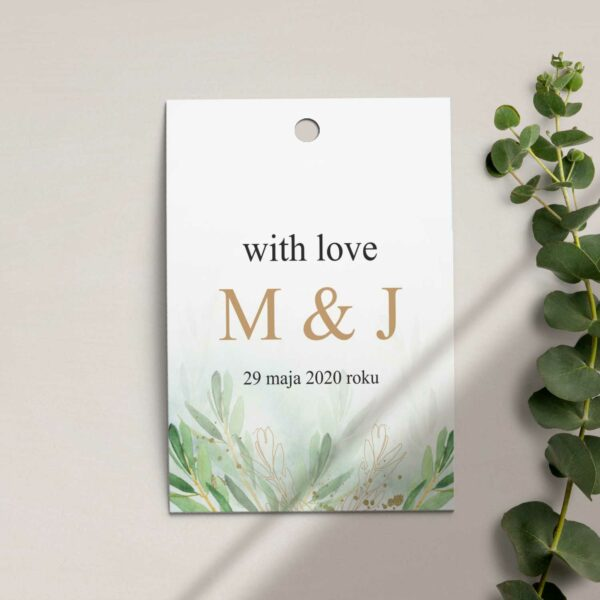 Zawieszka, etykieta na butelkę lub prezent z kolekcji Rustykalne oliwki firmy Cartolina - zaproszenia ślubne