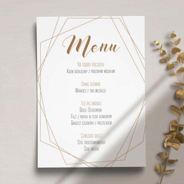 Pierwsza strona Menu ślubne z kolekcji Botaniczne geometryczne firmy Cartolina - zaproszenia ślubne