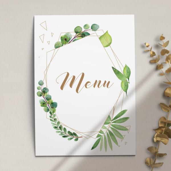 Druga strona Menu ślubne z kolekcji Botaniczne geometryczne firmy Cartolina - zaproszenia ślubne