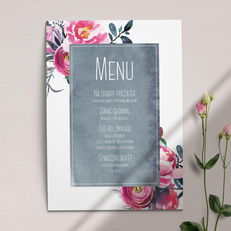 Pierwsza strona Menu ślubne z kolekcji Fuksja firmy Cartolina - zaproszenia ślubne