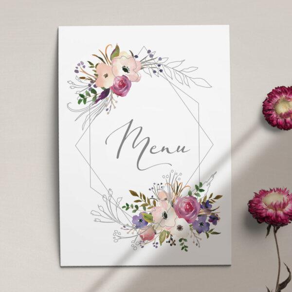 Pierwsza strona Menu ślubne z kolekcji Kreska i kwiaty firmy Cartolina - zaproszenia ślubne