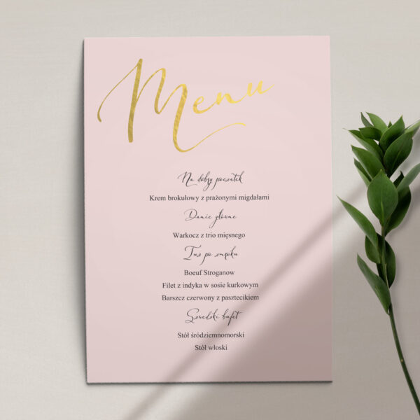 Menu ślubne z kolekcji Słodkie złoto firmy Cartolina - zaproszenia ślubne