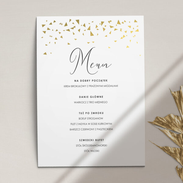 Menu ślubne z kolekcji Złote trójkąciki firmy Cartolina - zaproszenia ślubne