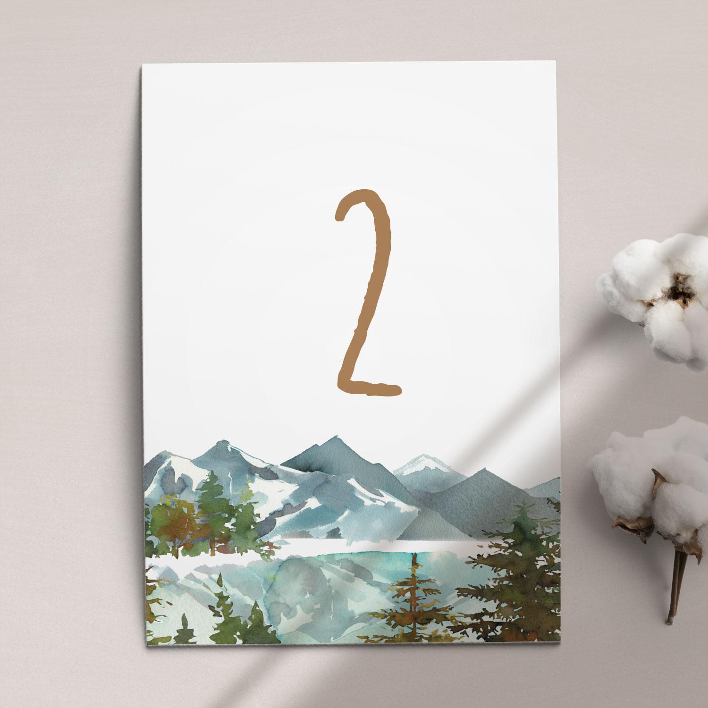 Numer na stół ślubny z kolekcji Górskie jezioro firmy Cartolina - zaproszenia ślubne