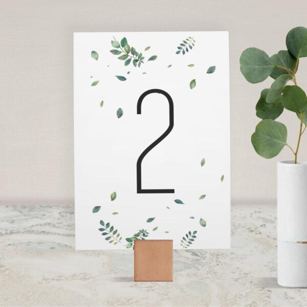 Numer na stół ślubny z kolekcji Listki na wietrze firmy Cartolina - zaproszenia ślubne
