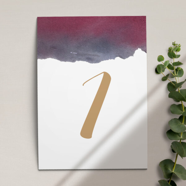 Numer na stół ślubny z kolekcji Szykowne akwarele firmy Cartolina - zaproszenia ślubne