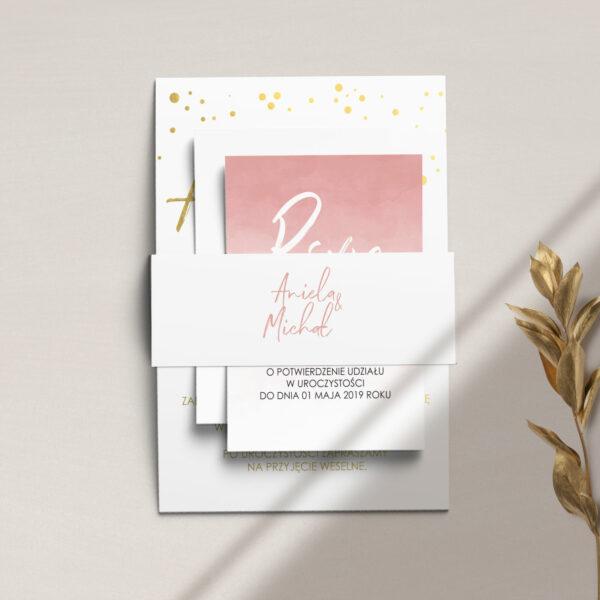 Zaproszenia ślubne z kolekcji Złota treść i confetti firmy Cartolina - złote zaproszenia ślubne