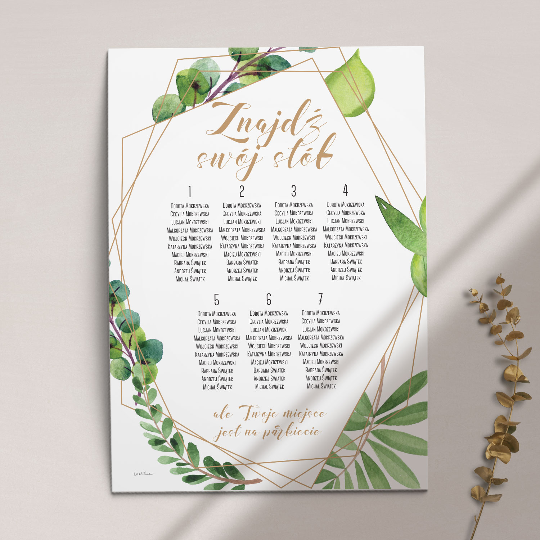 Plan stołów z kolekcji Botaniczne geometryczne firmy Cartolina - zaproszenia ślubne