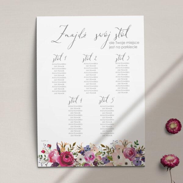 Plan stołów z kolekcji Kreska i kwiaty firmy Cartolina - zaproszenia ślubne