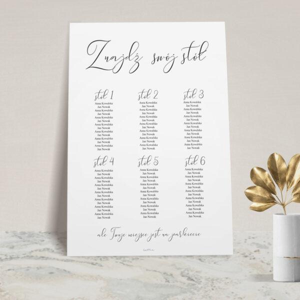 Plan stołów z kolekcji Złoty monogram firmy Cartolina - zaproszenia ślubne