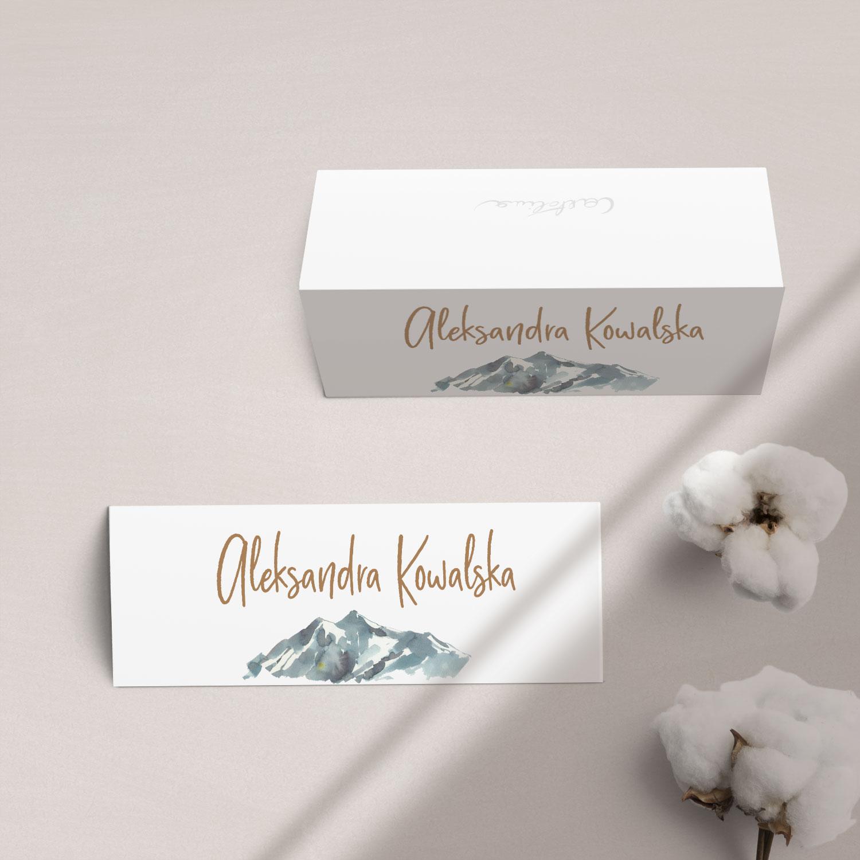 Winietki na stół z kolekcji Górskie jezioro firmy Cartolina - zaproszenia ślubne