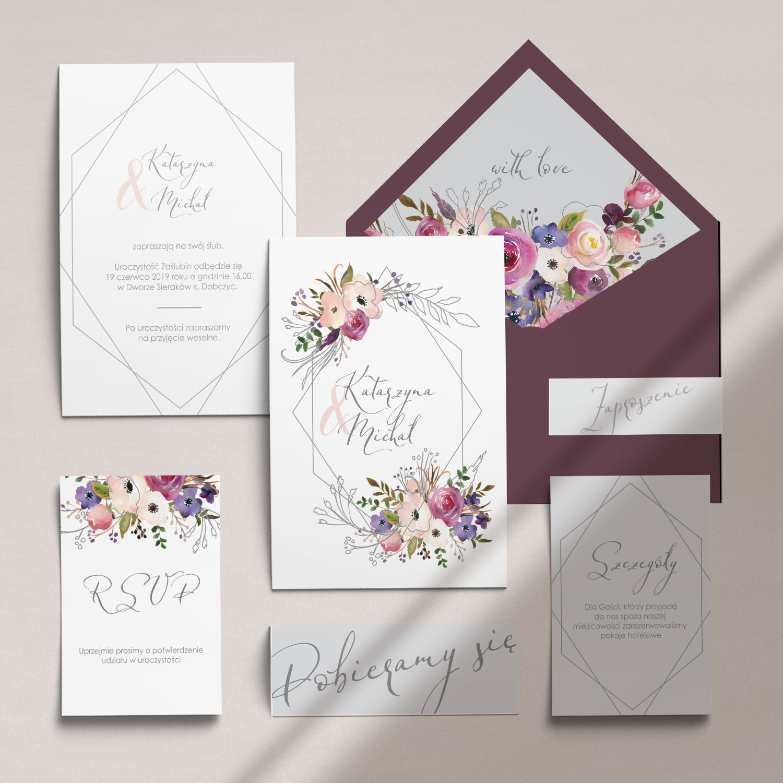 Botaniczne zaproszenia ślubne z kwiatami wraz z kopertą, RCVP oraz opaską z kolekcji Kreska i kwiaty firmy Cartolina - zaproszenia ślubne