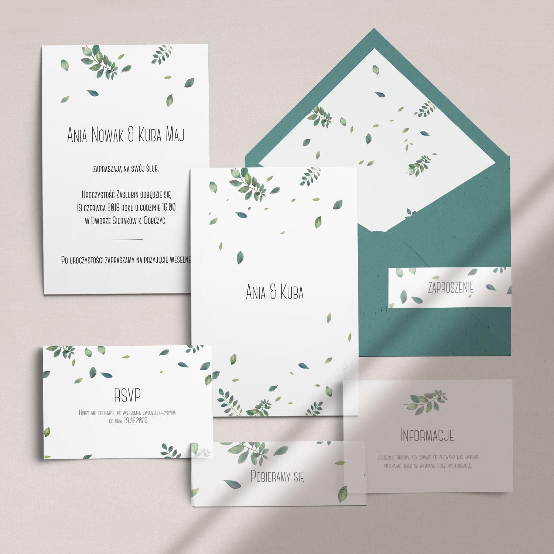 Zaproszenia ślubne wraz z kopertą, RCVP oraz opaską z kolekcji Listki na wietrze firmy Cartolina - zaproszenia ślubne