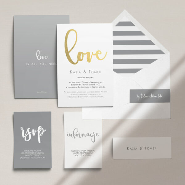 Zaproszenia ślubne wraz z kopertą, RCVP oraz opaską z kolekcji Złote love firmy Cartolina - zaproszenia ślubne