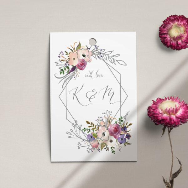 Zawieszka, etykieta na butelkę lub prezent z kolekcji Kreska i kwiaty firmy Cartolina - zaproszenia ślubne