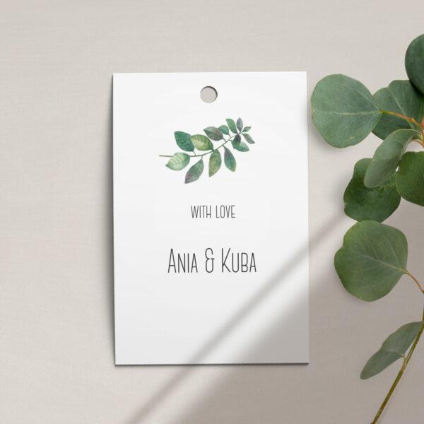 Zawieszka, etykieta na butelkę lub prezent z kolekcji Listki na wietrze firmy Cartolina - zaproszenia ślubne