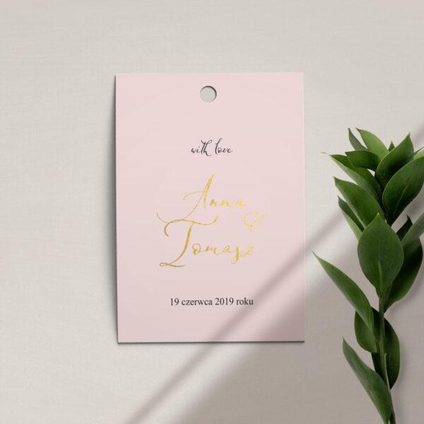 Zawieszka, etykieta na butelkę lub prezent z kolekcji Słodkie złoto firmy Cartolina - zaproszenia ślubne