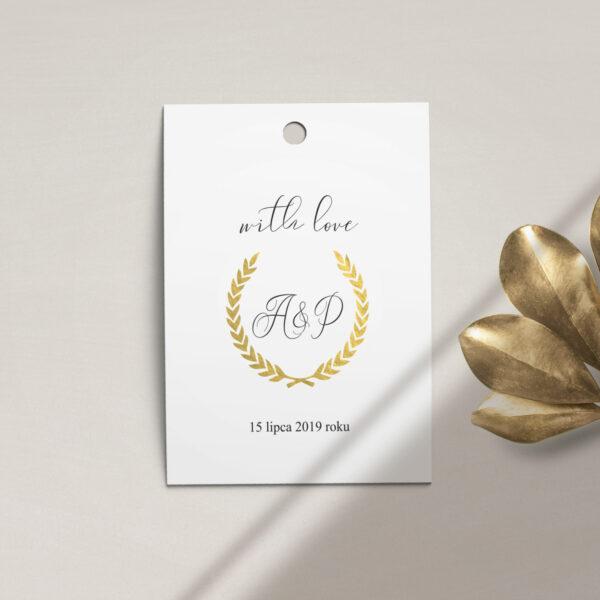 Zawieszka, etykieta na butelkę lub prezent z kolekcji Złoty monogram firmy Cartolina - zaproszenia ślubne