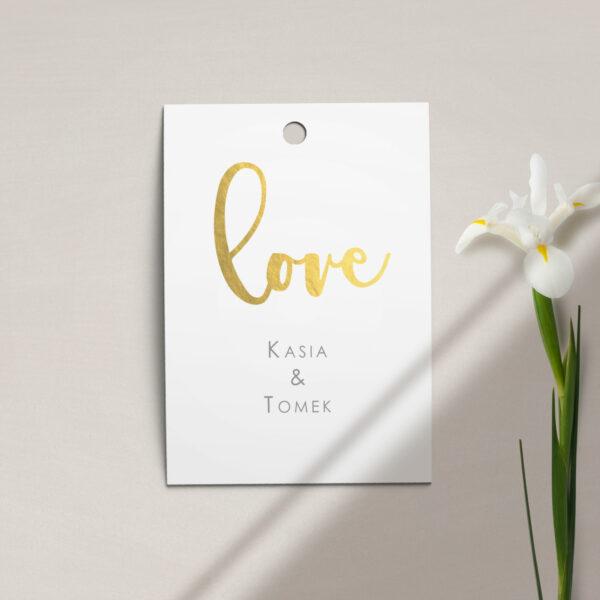 Zawieszka, etykieta na butelkę lub prezent z kolekcji Złote love firmy Cartolina - zaproszenia ślubne