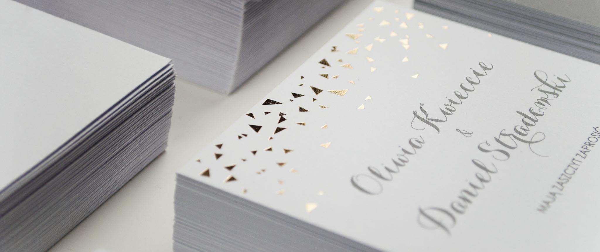 złote zaproszenia ślubne cartolina