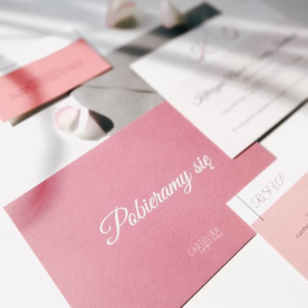 eleganckie zaproszenia różowe dolce vita