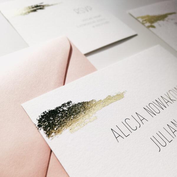 ręcznie złocone zaproszenia minimalistyczny blask
