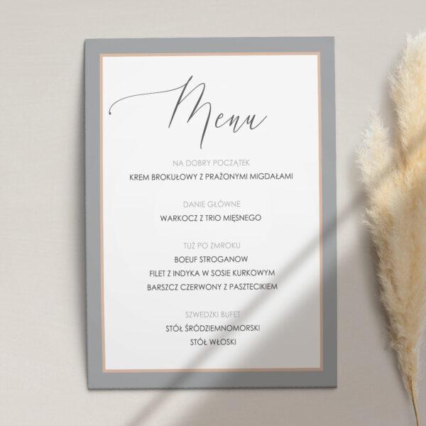 Pierwsza strona Menu ślubne z kolekcji Baśniowa szarość firmy Cartolina - zaproszenia ślubne