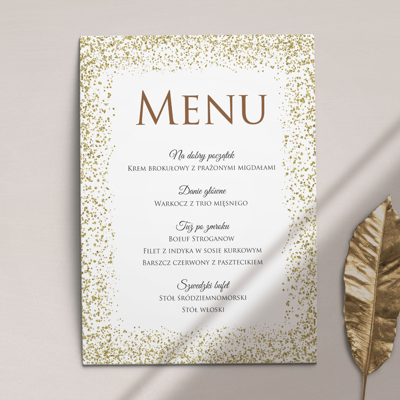 Pierwsza strona Menu ślubne z kolekcji Confetti firmy Cartolina - zaproszenia ślubne