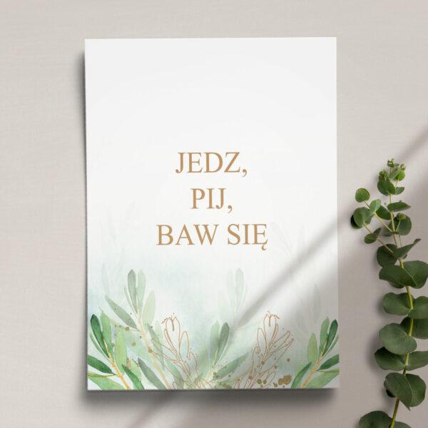 Druga strona Menu ślubne z kolekcji Rustykalne oliwki firmy Cartolina - zaproszenia ślubne