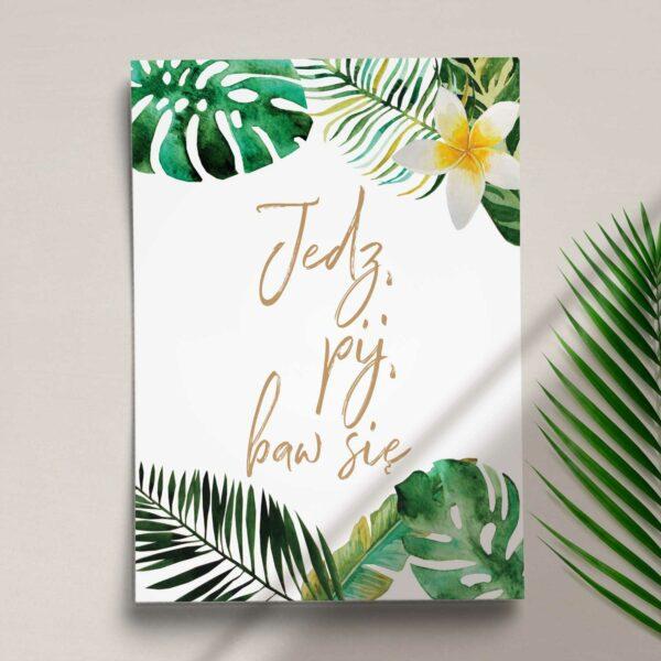 Druga strona Menu ślubne z kolekcji W tropikach firmy Cartolina - zaproszenia ślubne