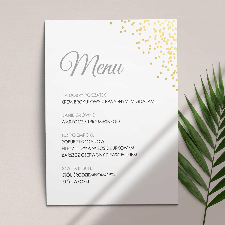 Menu ślubne z kolekcji Złoty brokat firmy Cartolina - zaproszenia ślubne