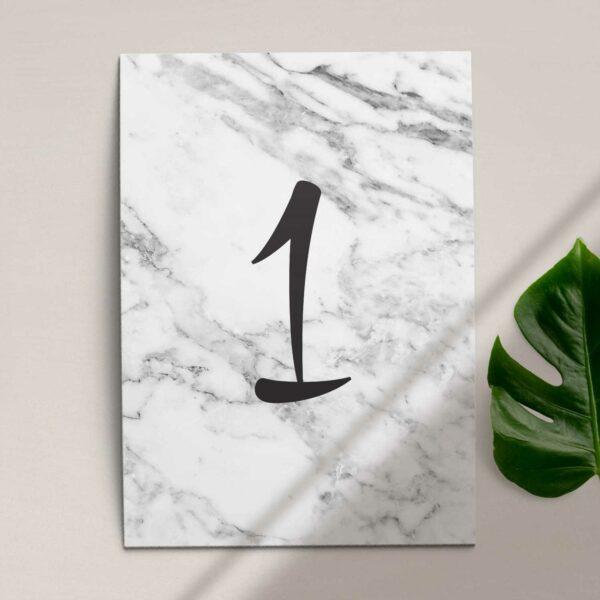 Numer na stół ślubny z kolekcji Marmur i złoto firmy Cartolina - zaproszenia ślubne