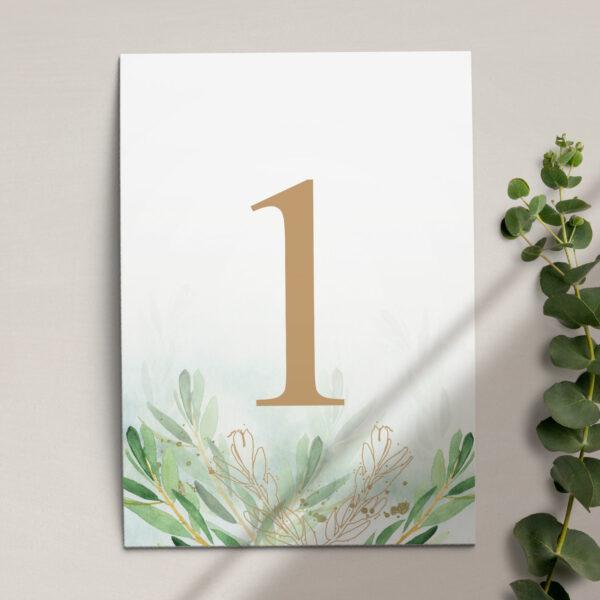 Numer na stół ślubny z kolekcji Rustykalne oliwki firmy Cartolina - zaproszenia ślubne
