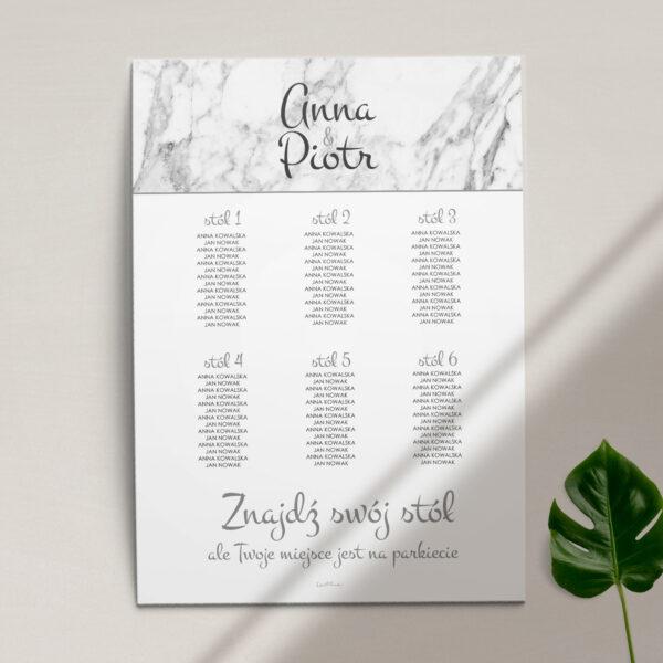 Plan stołów z kolekcji Marmur i złoto firmy Cartolina - zaproszenia ślubne