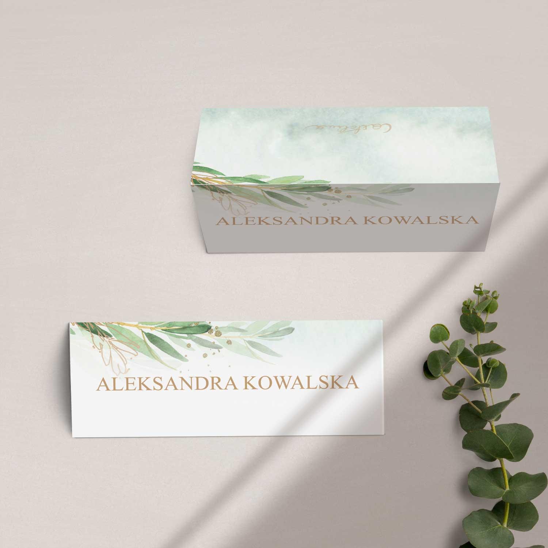 Winietki na stół z kolekcji Rustykalne oliwki firmy Cartolina - zaproszenia ślubne