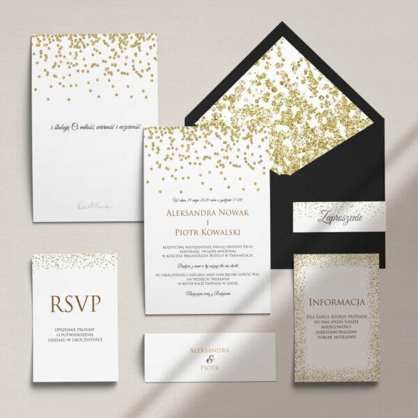 Zaproszenia ślubne wraz z kopertą, RCVP oraz opaską z kolekcji Confetti firmy Cartolina - zaproszenia ślubne