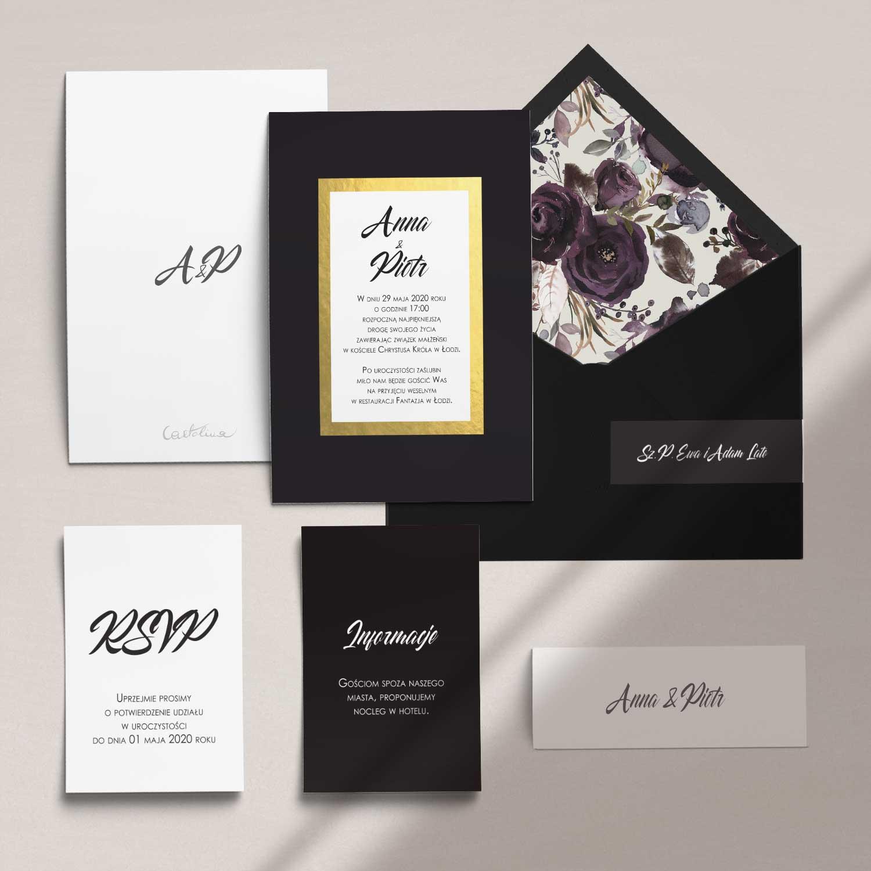 Zaproszenia ślubne wraz z kopertą, RCVP oraz opaską z kolekcji Czarne złoto firmy Cartolina - zaproszenia ślubne