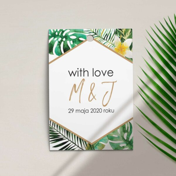 Zawieszka, etykieta na butelkę lub prezent z kolekcji W tropikach firmy Cartolina - zaproszenia ślubne