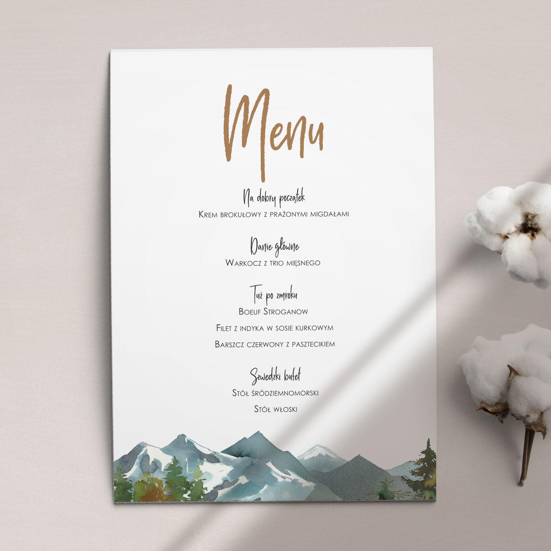 Pierwsza strona Menu ślubne z kolekcji Górskie jezioro firmy Cartolina - zaproszenia ślubne